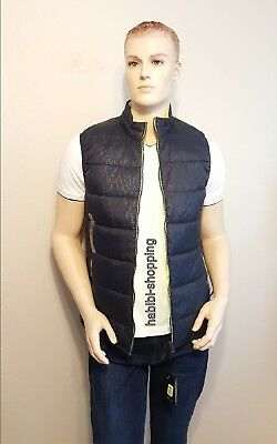New Mens Armani Exchange A|X All Over Logo Navy Blue Vest Sleevless Jacket