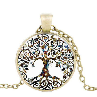 Glass Cabochon Pendant Tree Of Life Time Gem Chain Necklace Ladies Chic Jewelry