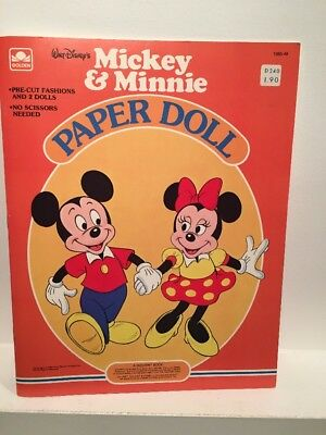 VTG Disney Mickey & Minnie Paper Doll Golden Books 1983 Uncut NOS New