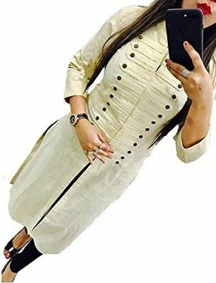 Women Cotton Material Stitched Large Kurti White Color Y61