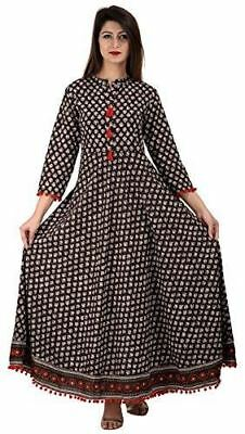 Women Printed Brown Colour Cotton Anarkali Kurti With Red Tusssles and Border UE
