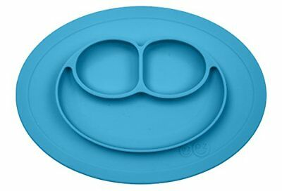 One Size ezpz Mini Mat - One-piece silicone placemat + plate Blue baby