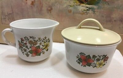 Corelle by Corning Indian Summer Vintage Sugar Bowl and Creamer Set Discontinued