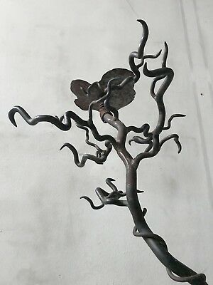 VINTAGE ART DECO 30s 40s WROUGHT IRON CANDLE HOLDER TORCHIERE CANDELABRE