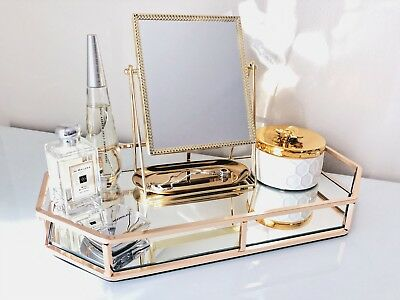 New Large Rose Gold Mirror Beauty Makeup Skincare Perfume Accent Tray Organiser