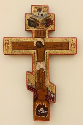 "Antique 19c Russian Hand Painted Wood Icon ""crucifixion of Christ"""