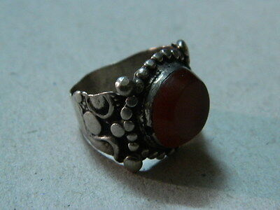 Ancient Post Medieval Silver ring With Stone 1800 AD ##AZ05##