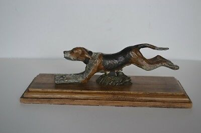 Cold Painted Bronze stunning large Hunting Hound Dog Letter/Paper holder