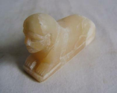 Egyptian  Alabaster Model Sphinx : 9 cm long - has some age to it...