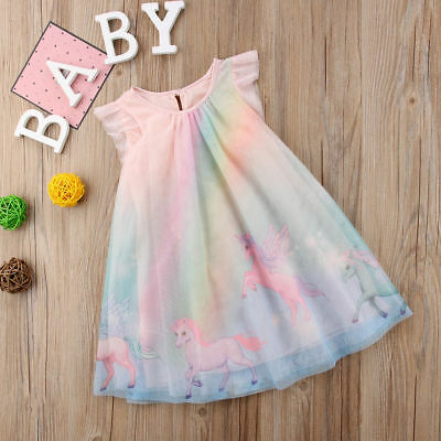 AU CANIS Unicorn Flower Girl Dress Baby Party Dress Tulle Tutu Sundress Clothes