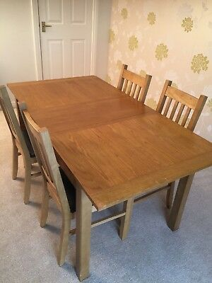 Used Oak Dining Table And 4 Chairs 40 00 Picclick Uk