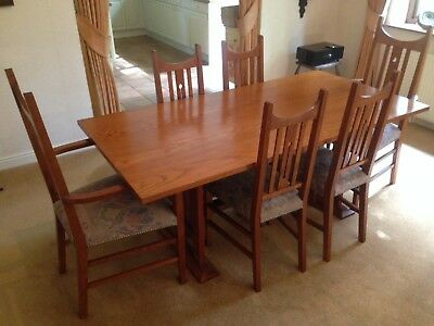 Liberty of London 'Liberty Guild' quality oak dining table and six chairs