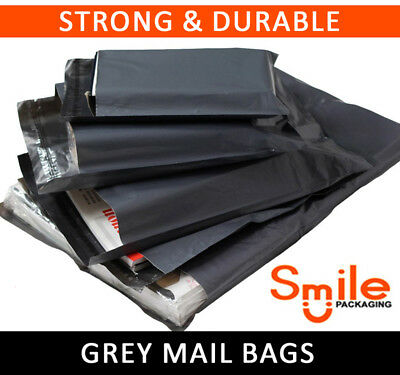 10 BAGS OF 14x16 INCH STRONG POLY MAILING POSTAGE LARGE 50MU SELF SEAL GREY XL