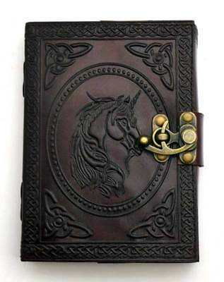 Unicorn Celtic Knots Embossed Leather Blank Book Journal Diary 5x7 with Latch