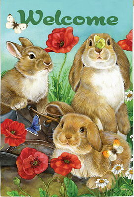 NEW EVERGREEN GARDEN FLAG BUNNY RABBITS & BUTTERFLIES WELCOME TWO-SIDED 12.5x18