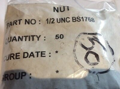 """NOS 1/2"""" UNC Steel Full Nut to BS1768 qty 50 (BX)"""