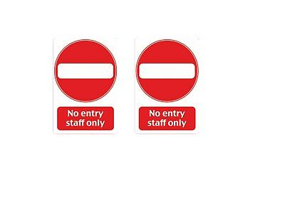 Warning No Entry Staff Only Sticker Decal Safety Sign Decal 67 x100mm waterproof