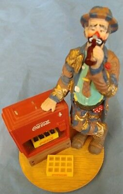 Nice Coca Cola Emmett Kelly Clown Figurine AT THE RED COOLER Limited Edition