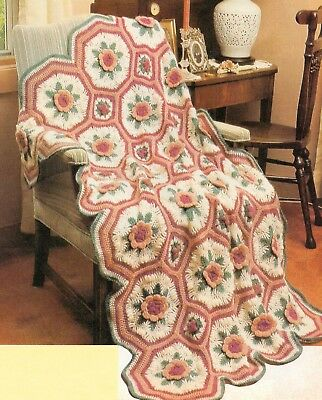 Queen Annes Bouquet Flower Afghan Crochet Pattern Instructions