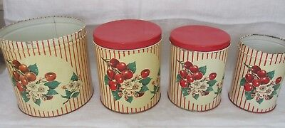 4 VINTAGE METAL Kitchen Canisters-Cherries-2 Red Lids-1940\'s ...