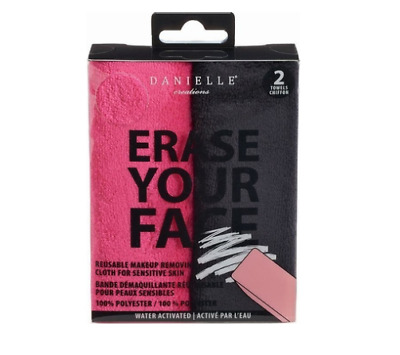 Danielle ERASE YOUR FACE Reusable Makeup Removing Cloths 2 Pack Black&Pink