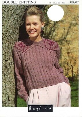 "HA00807 LADIES DK CABLED EMBROIDERED SWEATER KNITTING PATTERN 30-40""/76-102cm"
