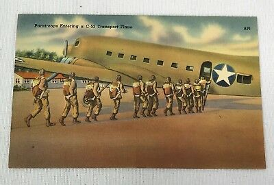 WWII US Army Paratroops Entering C-53 Transport Plane Post Card