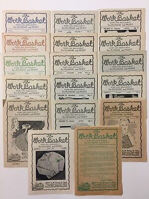 Lot Of 17 1940s Work Basket Magazines Sewing Patterns Home Needlecraft Christmas