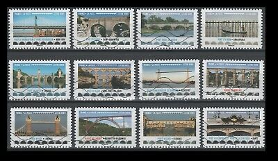 France Architecture - Bridges and Viaducts 2017 (12 USED Stamps)
