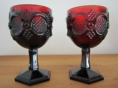 Avon 1876 Cape Cod Collection Set of 2 Water Goblets Ruby Red