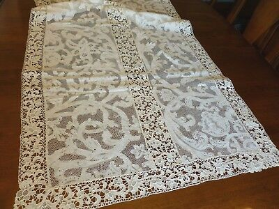 Stunning Antique Runner Mixed Lace Milanese Bobbin Reticella Needle Lace