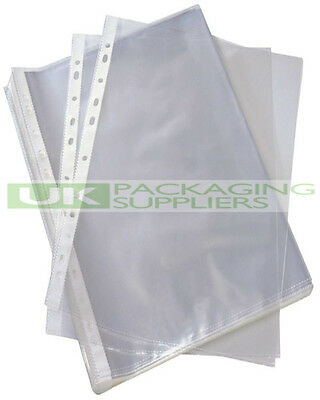5000 CLEAR PLASTIC PUNCHED POCKETS SLEEVES WALLETS FOR A4 SIZE 60mu THICKNESS