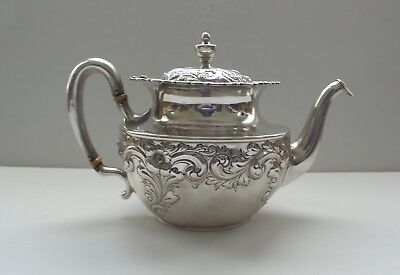 19th C. Sterling Silver Teapot, Embossed Decoration, 490 grams