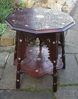Beautiful  Antique Anglo/indian  Wooden Inlaid Side Table With Shelf