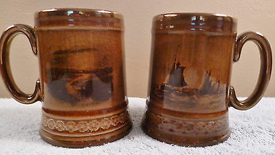 2 antique Ridgway famous artists paintings series rare sepia toned steins / mugs