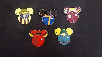 8345cdb6979 WDW Cast Member Costume Uniform Suit Disney Pins 2015 Hidden Mickey Set Of 5