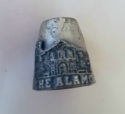 TEXAS Pewter Thimble - Map of Texas SOUVENIR; Collectible The Alamo