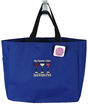 Wine Bag Gift My Favorite Colors Red White Pink Funny Monogram Blue Tote Gift
