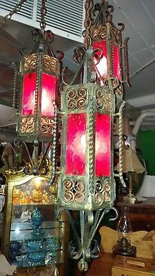 Vintage Iron 3 Pendant Chandelier . Gothic Style . Heavy well made . Beautiful