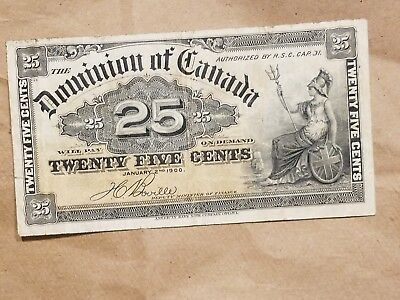 1900 Canada 25 Cents Banknote Fractional Shinplaster note Boville Very Fine VF !