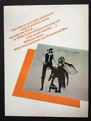 "Fleetwood Mac Original 11X14"" Promo Ad For ""Rumors"" & The Albums Successes"