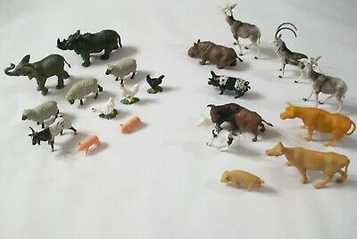 Lot Vintage Plastic Farm Zoo Wild Play Set Animals Made England & Hong Kong