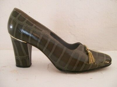 e49d259245c 50% OFF Stanley Philipson size 4.5 luxury green alligator embossed shoes  1960 s
