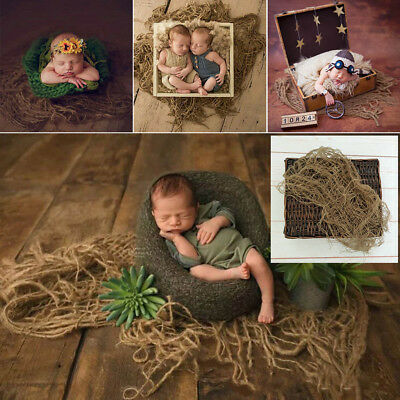 1PC Newborn Jute Backdrop Blanket Baby Photography Prop Chunky Burlap Layer Net