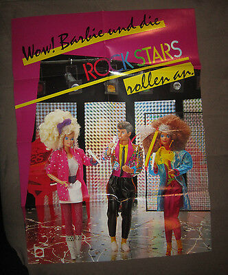 Barbie Midge Ken Falt-Poster Rockstars Rockers 1986 80er 40x53 cm Journal