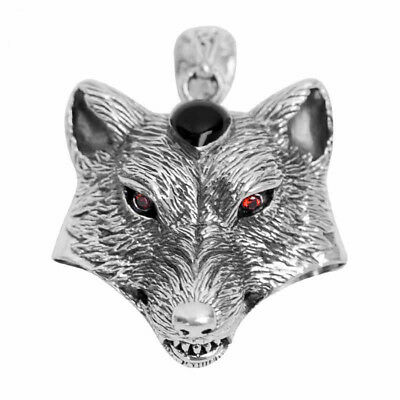 Men's Sterling Silver Wolf Head Pendant With Stainless Steel Ball Necklace N38