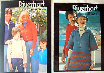 2 x Riverhart Knitting Machine Pattern Booklets - 32 designs for the family -VGC