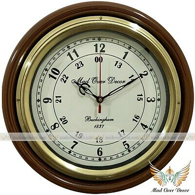 Vintage Handcrafted Collectible Brass Round Buckingham 1837 Wall Clock Decor