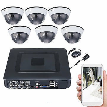kit di sorveglianza 8 canali DVR Motion Detection Night Vision 6 videocamere