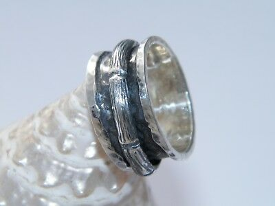 Hand Made Hammered .925 Sterling Silver Bamboo Design Spinner Ring-Custom Size